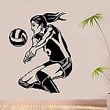 wZUN 2psc Jugador de Voleibol Femenino Etiqueta de la Pared Vinilo Tatuajes de Pared 42X54cm