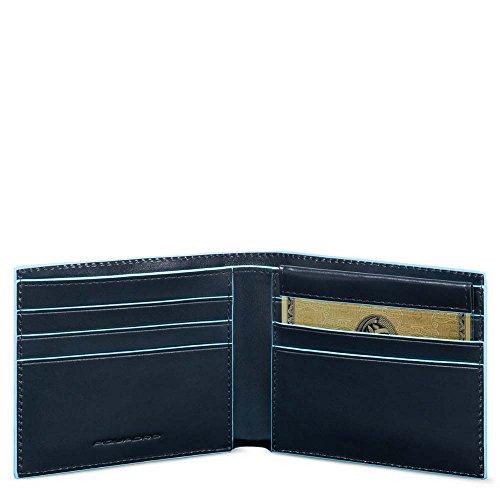 Piquadro Blue Square Portamonete con 6 Alloggiamenti per Carte di Credito, 11 cm, 0.41 litri, Blu Notte
