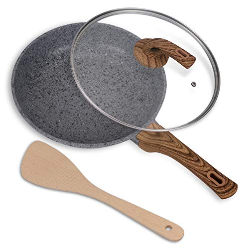 Nonstick Frying Pans 12 Inch Frying Pan with Lid /& Nonstick Stone-Derived Coati