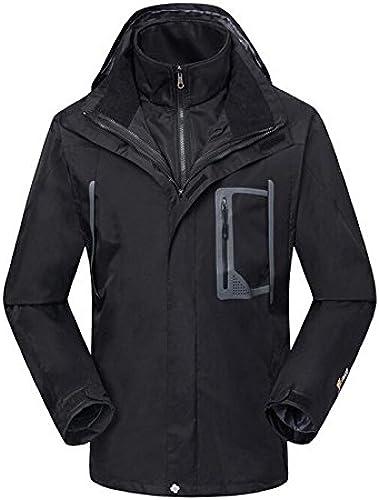 DYF Manteau Hommes Veste de Ski Bas Fermeture éclair Manches Longues Chapeau Chaud épaissi,noir,XXXL