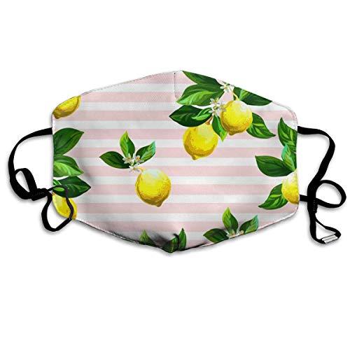 Citrus On Striped Hand Gezeichnet Mit Zitronen Mundschutz Gesichtsschutz Baumwolle Winddicht Anti Wiederverwendbar Komfortable Atmungsaktive Sturmhaube