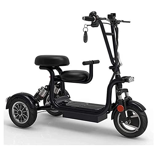 GAO-bo Mobility Scooters, Scooter Eléctrico, Scooter Eléctrico De Litio De Tres Ruedas Plegables para Adultos, Mini Scooter De Tres Ruedas Pequeñas (Color : Black, Size : 45 kilometers)