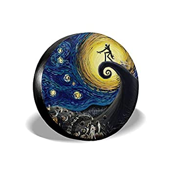 UTWJLTL Tire Cover Halloween  The Starry Night  Polyester Universal Spare Wheel Tire Cover Wheel Covers for Jeep Trailer RV SUV Truck Camper Travel Trailer Accessories 15 Inch