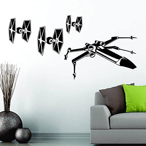 Calcomanía de vinilo para pared Hollywood Sci-Fi Movie Star Ti Fighter X-Wing Spacesip Wars The Last Jedi niño habitación de niños dormitorio decoración del hogar mural póster