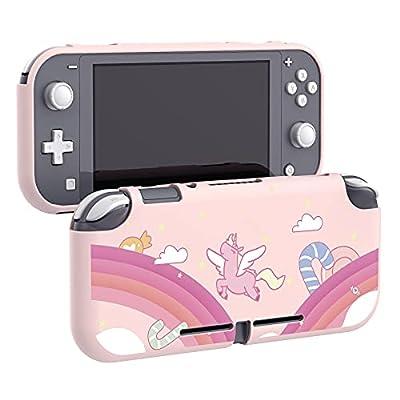 eXtremeRate PlayVital Protector para Nintendo Switch Lite Carcasa Estuche Delgado de TPU Suave Protectora Funda para Nintendo Switch Lite Control(Rainbow Unicornio)
