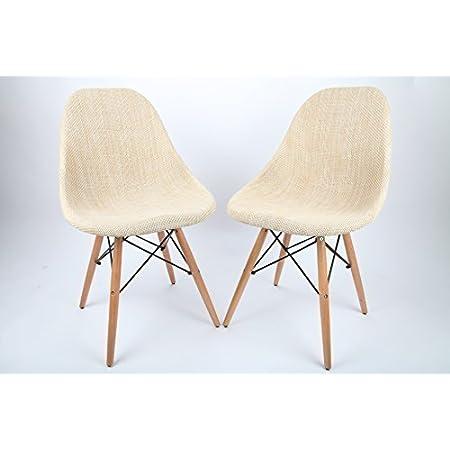 2x Esszimmerstuhl Küchenstühle Wohnzimmerstuhl Stuhl Leinen B1-BH206dgr-2 B-Ware