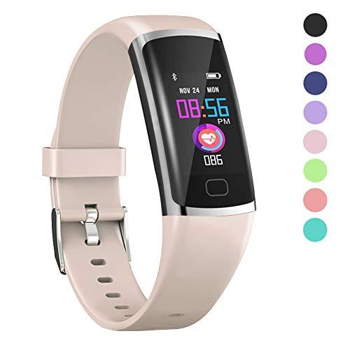 Polywell Fitness-Tracker, Aktivitätstracker mit Herzfrequenz-Monitor und Schlaf-Monitor, Bluetooth, wasserdicht, Schrittzähler und Kalorienzähler (12Pink)
