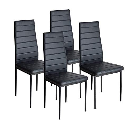 WV LeisureMaster Juego de 4 Sillas de Comedor con Marco de Acero y Respaldo Alto de Cuero de PU, Diseño Elegante para Muebles de Cocina para el Hogar (Negro)