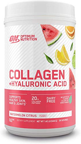 Collagen Peptides Powder By Optimum Nutrition, Vitamin C & D for Immune Support, 20g Hydrolyzed Collagen with Hyaluronic Acid, Watermelon Citrus, 28 Servings, Supports Healthy Skin, Hair & Joints
