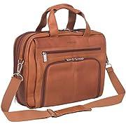 """Kenneth Cole Reaction Colombian Leather Dual Compartment Expandable 15.6"""" Laptop Portfolio, Cognac"""