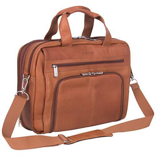 Kenneth Cole Reaction Manhattan Colombian Leather Briefcase Expandable RFID 15.6' Laptop Portfolio Shoulder Bag, Cognac, One Size