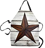 SSOIU Texas Cooking Apron, Vintage Western Texas Star On Old Wood Kitchen Apron for Baking/BBQ Men Women Unisex Waterproof 31X27 Inches