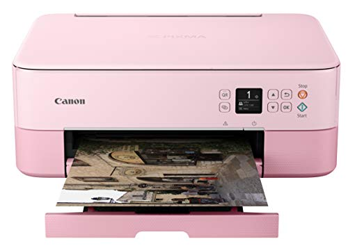 Canon PIXMA TS5320 All In One Wireless Printer, Scanner, Copier with AirPrint, Pink, Works with Alexa
