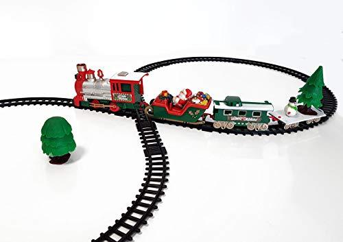 Deko Weihnachtszug 22-teilig 91x44 cm - spielt Weihnachtsmusik - Mini Zug zu Weihnachten Eisenbahn mit Lokomotive, 3 Waggons und 15 Schienen und Dekobaum
