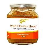 450 g Miel de flores silvestres y hierbas, sin azúcar, sin calentar, sin pasteurizar, crudo,