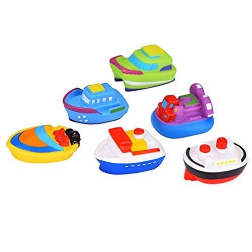 TOYMYTOY Barco flotante de 6pcs juguetes goma Cartoon baño chorro juguetes para bebé
