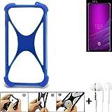 K-S-Trade® Handyhülle Für Allview Soul X6 Xtreme Bumper Schutzhülle Silikon Schutz Hülle Cover Case Silikoncase Silikonbumper TPU Softcase Smartphone, Blau (1x), Headphones