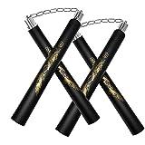 zalani Nunchucks,Safe Foam Rubber Training Nunchucks/Nunchakus with Steel Swivel Chain(2 Pack Black)