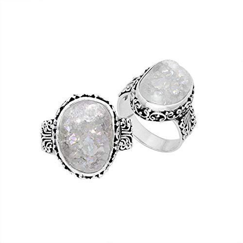 Forma ovale in argento Sterling anello con Dursy ar-8005-dzw-9'