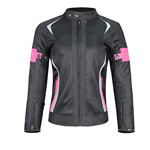 LALEO Mujeres Corte Ajustado Chaqueta de Moto, Impermeable Ajustable Mantener Caliente Resistente con Armours CE y Reflexivo Cuatro Estaciones Chaqueta para Motocicleta Rosa Negro,M