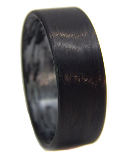 Men's or Women's Carbon Fiber Ring with texalium silver interior - Handcrafted -Lightweight - Black Band/Silver interior - Custom Band widths