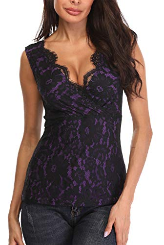 MISS MOLY Tops Damen Sexy V-Ausschnitt Kreuz Tank Top mit Spitze Ärmellose Bluse T-Shirt Schwarz/Violett Large