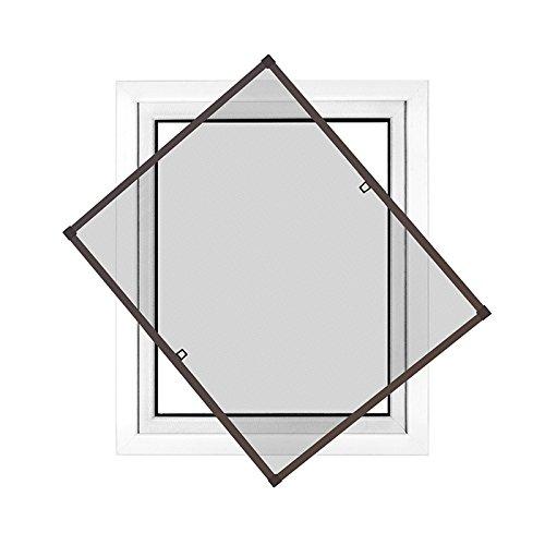 JAROLIFT Profi Line Zanzariera con telaio per finestra - Zanzariera di alta qualità - telaio in alluminio - 120 cm x 150 cm marrone - zanzariera fai da te montabile senza fori