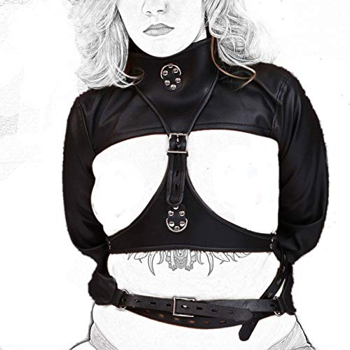Bondage Zwangsjacke Leder Erotik Dessous Kostüm Handfesseln Hand Arm Brust Fesselset SM Extreme Tight Restraint Slave Fetisch Fesseln Spielzeug
