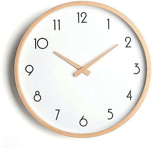 Reloj de pared - Reloj de pared de madera maciza para sala de estar, dormitorio, arte creativo, art decó, reloj de pared, reloj de pared -B_14 pulgadas