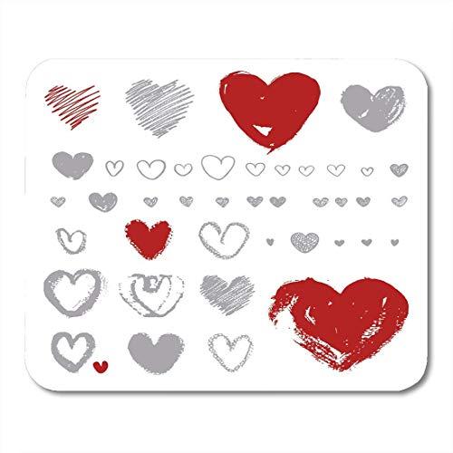 Mauspad Herzen auf Silhouette Form Pinsel Aquarell Tinte Raues künstlerisches Mousepad für Notebooks, Desktop-Computer Mausmatten, Büromaterial