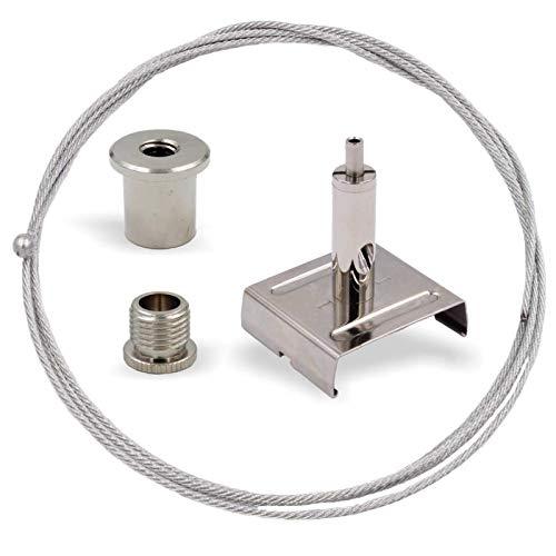 Abhängeset für IVELA Stromschienen Systeme   Deckenbefestiger, Schraubkappe, Drahtseilhalter mit Stromschienen Klemme, Drahtseil Ø1,5mm, Länge 1500mm   Silber