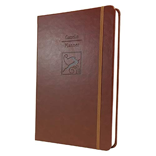 Gazelle Planner - Guided Daily Planning to Improve Organization, Time Management & Success. Daily, Monthly & Weekly Goals, 6 x 9 inches, 6 Month UNDATED Planner (Brown)