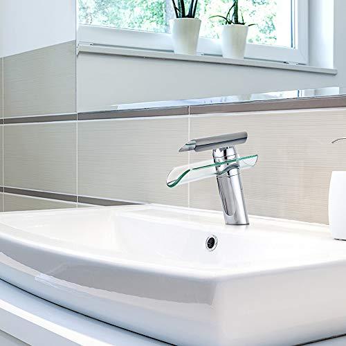 SAILUN Wasserfall Armatur Wasserhahn Glas Spüle Waschbeckenarmatur für Bad Waschtischarmatur Badarmatur Badezimmer Küchen (B Type) - 7