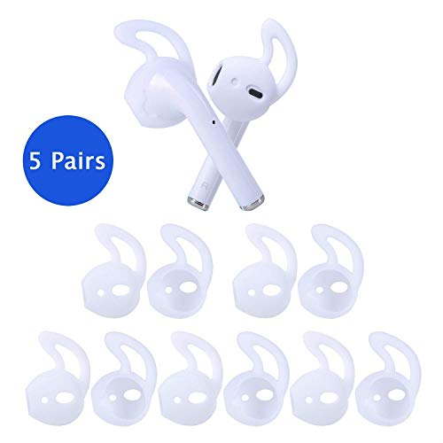 OneCut 5 Pairs Silicone Ear Tips for Apple AirPods/EarPods,Silicone Soft Covers Anti-Slip Sport Earbud Tips, Anti-Drop Ear Hook Gel Headphones Earphones Protective Accessories Tips (White)