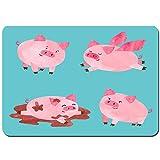 kThrones Antideslizante Alfombra De Baño,Cute Acuarela Cerdos Set Vector Cartoon,Alfombra de Cocina Alfombra Mascota,Alfombras de Ducha 80x60cm
