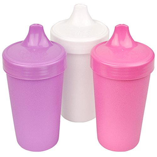 RE-PLAY Made in the USA 3pk - 10 oz. No Spill Sippy Cups | Purple, White, Bright Pink | Eco Friendly Heavyweight Recycled Milk Jugs | Virtually Indestructible| BPA Free | Berry