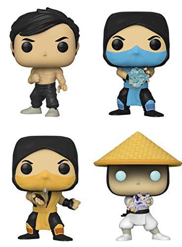 Kit 4 Bonecos Mortal Kombat Liu Kang, Sub-Zero, Scorpion e Raiden Pop Funko 535 536 537 538 SUIKA