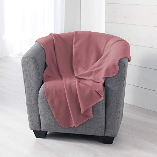 douceur d'intérieur Milou PLAID, Polyester, Vieux Rose, 125 x 150 CM