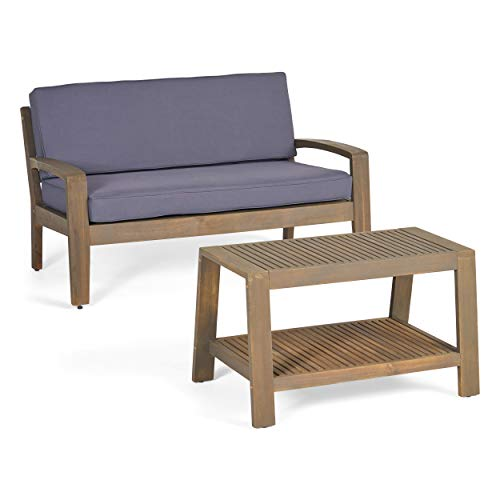 Christopher Knight Home Grenada Outdoor Acacia Wood Loveseat and Coffee Table Set with Water Resistant Cushions, Grey Finish / Dark Grey