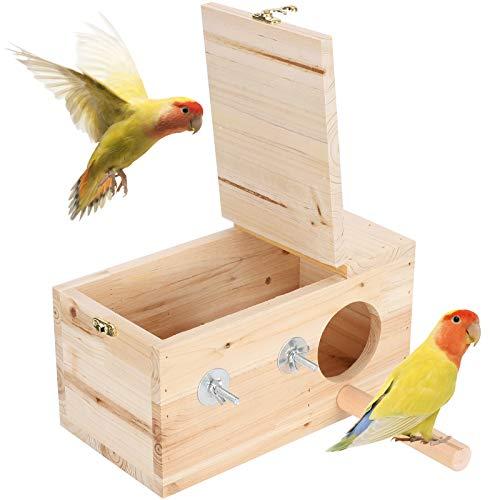 Casa nido para periquitos, material de abeto, caja de cría de aves, casa de pájaros, caja nido de madera, natural, resistente, duradero para mascotas pequeñas