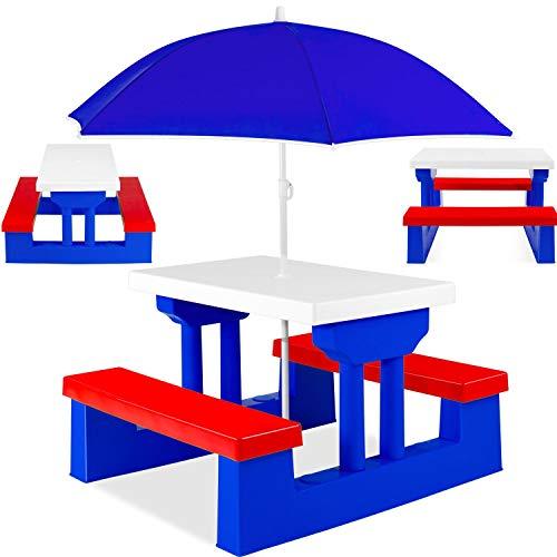 Kesser® Kindersitzgruppe mit Sonnenschirm Kindertisch Picknickset | Sitzgarnitur Tisch und Bänke | Sitzgruppe Kindermöbel Gartenmöbel für Kinder Blau