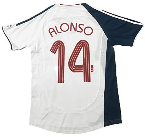 Gedenken an kundenspezifiziertes Fußball-T-Shirt, No.14 Alonso 06-07-Saison-Mens Retro Football Uniform, Gerrard Fans Fussball Jersey NO.14-S