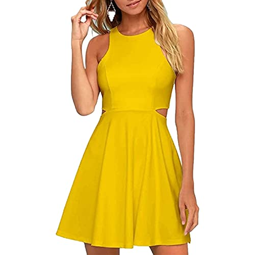 KeYIlowys äRmelloses Schmales Kurzes Kleid, Strapskleid, Abend Damen Minikleid, Kurzes Kleid