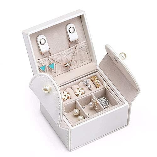 JIANGCJ Pretty EwCaja para mujer de 2 capas, organizador de joyas de viaje, caja de joyería, caja de almacenamiento de exhibición, mini estuche de viaje, rosa (color: blanco)