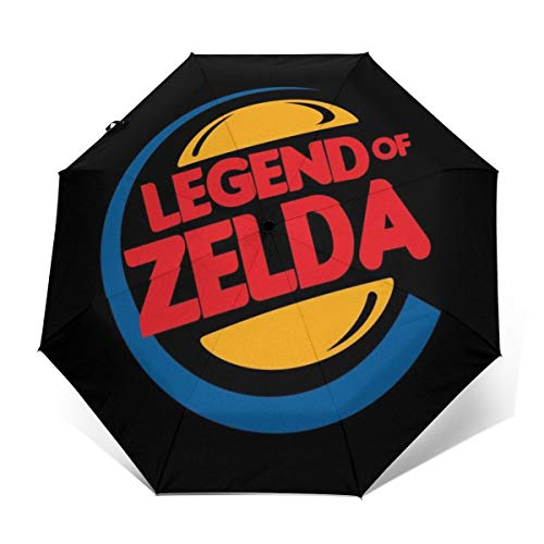 Legend of Zelda Burger King Mix Paraguas Plegable Compacto de Apertura y Cierre automático, Plegable, Parasol de Viaje