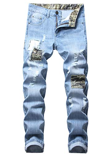 FREDD MARSHALL Men's Light Blue Slim Fit Ripped Distressed Camo Patched Stretch Fashion Denim Jeans