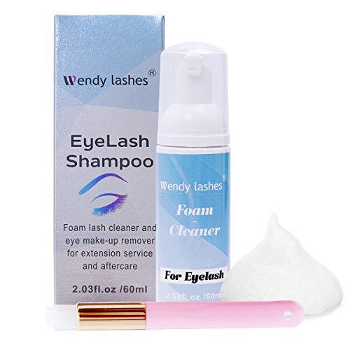 Wimpern Shampoo für Wimpernverlängerung, Sanfte Schaumwäsche zum Entfernen von Öl Make up Rückständen, Wendy lashes wimpernpflege wimpernbürste 60ml