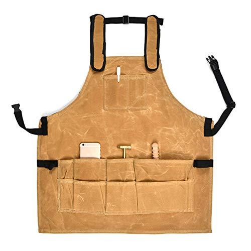 Lowral Delantal de trabajo resistente, ajustable aceite cera paño delantal herramienta, carpintero impermeable A