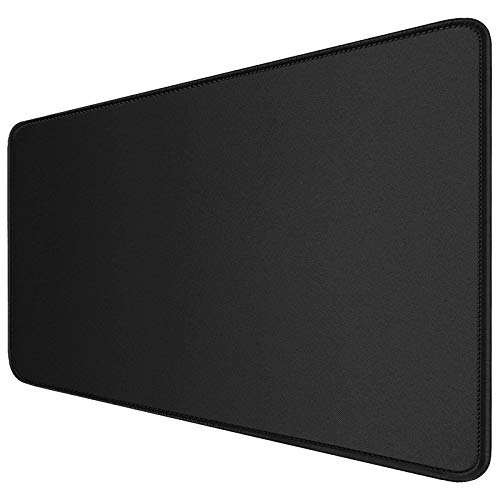 XXL Extended Gaming Mouse Pad with Stitched Edges, Extra Large Mousepad with Nature-Non-Slip Rubber Base, Waterproof Keyboard Pad Textured Cloth Mouse Mat for Gamer, Office & Home, 35.4x15.7 in, Black