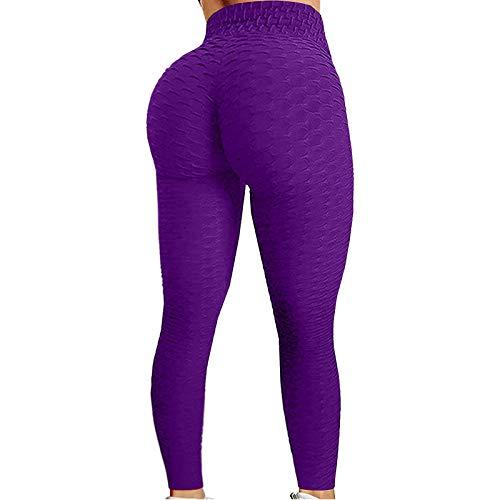AILIEE Mallas largas para mujer de corte ajustado, cintura alta, con control de abdomen, entrenamiento, yoga, push up, mallas de deporte, opacas, de compresión. #1 Lila XXL